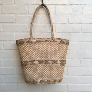 Vintage Straw Carry Purse Basket